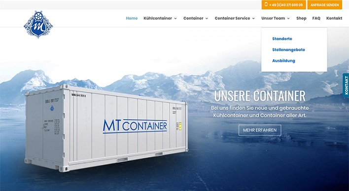 The launch of new website created for MT Container GmbH